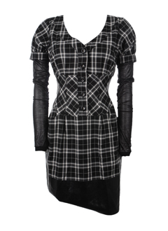 Checkered Asymmetric Dress :  chic checkered grey gray